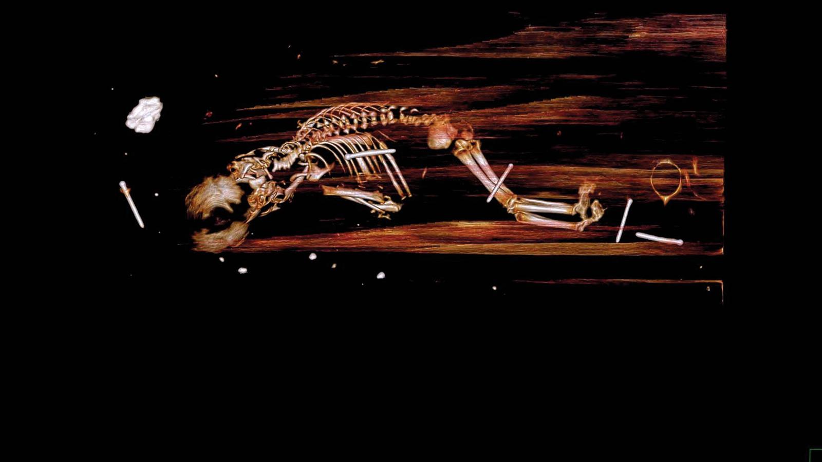 Mumifierad biskop hade foster med sig i graven