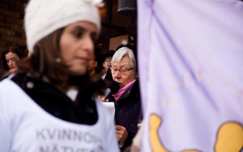 Madeleine Leionhufvud var en av talarna under lördagens demonstration på Medborgarplatsen i Stockholm.  Bild: Karl Skagerberg