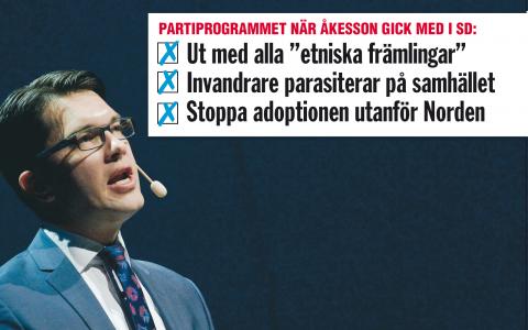 """Jimmie Åkesson gick med i ett parti som levde i symbios med en öppet nazistisk rörelse"", säger Alex Bengtsson på stiftelsen Expo.  Bild: Janerik Henriksson/TT"