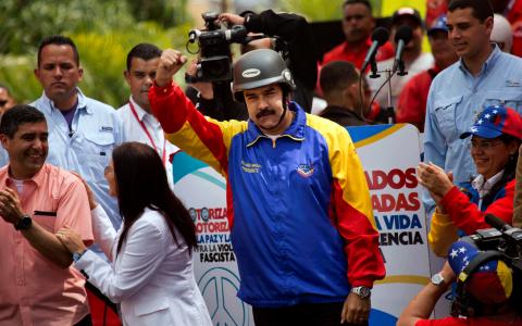 Pressad. Venezuelas president Nicolas Maduro. Bild: Rodrigo Abd/AP/TT