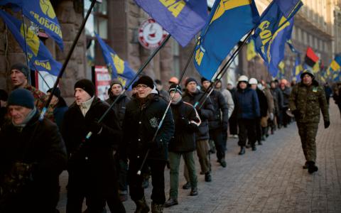 Svoboda demonstrerar i Kiev.   Bild: Emilio Morenatti/TT/AP
