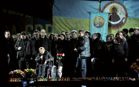 Julia Tymosjenko framträdde på Självständighetstorget i lördags.  Bild: Gustav Sjöholm/TT