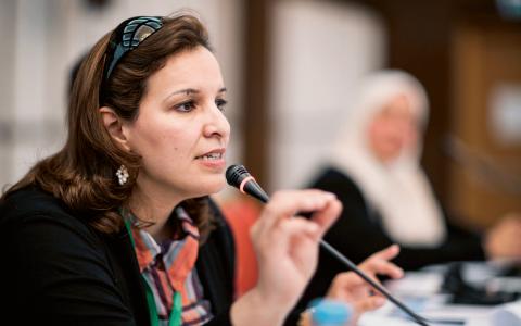 """""""I valet mellan att vara en juridisk expert på mänskliga rättigheter och att vara en aktivist, har jag valt att vara aktivist och opposition mot alla framtida regeringar"""", säger Hana Sadik El-Gallal.  Bild: Donald Boström"""