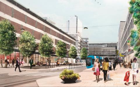 Klarabergsgatan i Stockholm i en bilfri framtid visionerad i en arkitektskiss.  Bild: DinellJohansson (fotomontage)