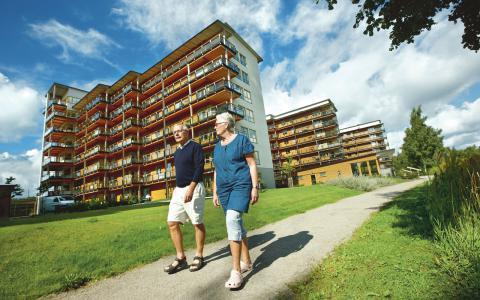 Växjö har sedan 2008 satsat på trähusbyggande i större skala, bland annat finns Sveriges högsta moderna bostadshus med trästomme där.  Bild: Mats Samuelsson