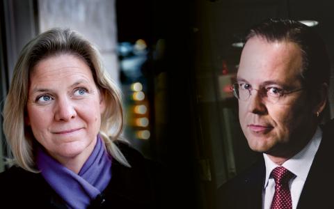 Socialdemokraternas ekonomisk-politiska talesperson Magdalena Andersson och finansminister Anders Borg (M).  Bild: TT (montage)
