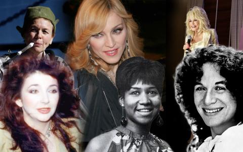 Laruie Anderson, Madonna, Dolly Parton, Kate Bush, Arteha Franklin och Carole King. Alla har bidragit stort till musikvärlden, ingen har fått Polarpriset. Bild: Rick Rycroft/AP, Adam Sammler, Cachimba, Canoe1967, Capitol Records/CC