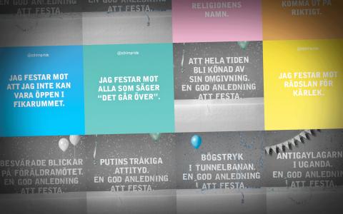 Några av budskapen i Stockholm Prides kampanj.