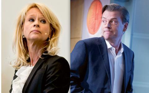 Annika Falkengren, vd SEB och Michael Wolf, vd Swedbank. BILD: TT