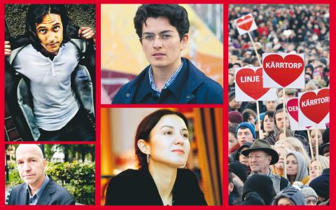 Jonas Hassen Khemiri, Gellert Tamas, Lawen Mohtadi och Devrim Mavi – några av skribenterna och redaktörerna bakom boken Rasismen i Sverige.  Bilder: TT
