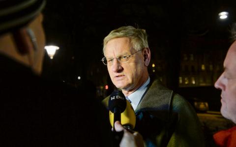 Carl Bildt slog fast att en av de viktigaste principerna för varaktig fred i Gaza är att blockaden hävs. Men någon skärpning av tonen mot Israel är inte att vänta.  Bild: TT