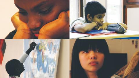 I dokumentären Franska för nybörjare får vi följa 24 barn under ett helt år i en förberedande skolklass där elever, från en mängd olika länder, lär sig språket innan den normala undervisningen kan ta vid.  Bild: Folkets bio