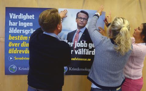 Kristdemokraterna har blivit beroende av taktikröstande moderater. I år, när siffrorna för M dalat, kan läget bli ett annat, tror statsvetaren Annika Fredén som forskar om just taktikröstning.   Bild: Janerik Henriksson/TT