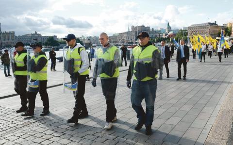 Svenskarnas parti under marschen i Stockholm i lördags. Bild: Maja Suslin/TT