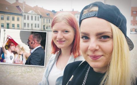 Maya och Luise har fått stor uppmärksamhet för sin kyss framför SvP:s partiledare. Bilder: Joakim Carlsson