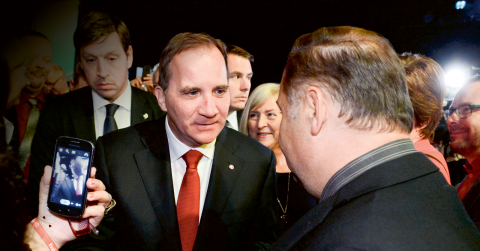 Stefan Löfven under Socialdemokraternas valvaka i Stockholm.  Bild: TT