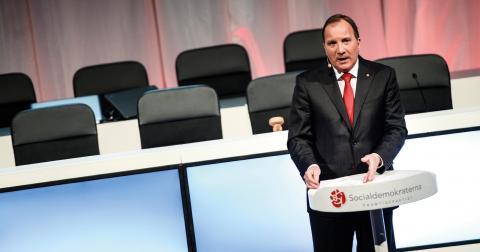 """Stefan Löfven presenterade """"Sveriges nya jobbagenda"""" inför S-kongressen förra helgen.  Bild: Pontus Lundahl/TT"""