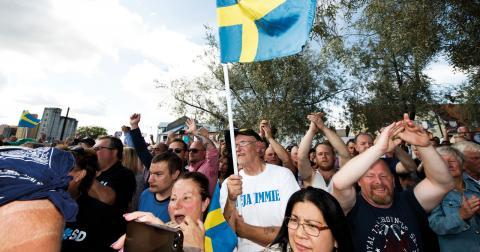 Sverigedemokraternas partiledare Jimmie Åkesson höll lördagen den 29 augusti sitt sommartal i hemstaden Sölvesborg. Rickard Nilsson/TT