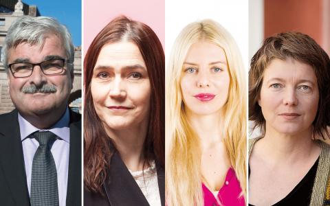 Håkan Juholt, Lotten Sunna, Kajsa Ekis Ekman och Malin Björk. Bild: TT