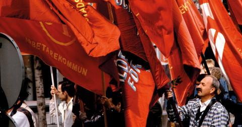 Första maj-demonstration på 1970-talet. Bild: Hasse Holmberg/TT