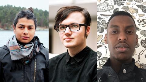 Jorge Londoño (Rädda Barnens Ungdomsförbund), Frank Berglund (RFSL Ungdom) och Hamza Ibrahim (Ensamkommandes förbund)