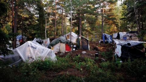 Läger i Högdalen, bild från 2014. Bild: Annika af Klercker/TT
