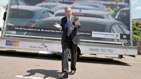 Ukips partiledare Nigel Farage kampanjade för ett EU-utträde. Bild: Nick Ansell/PA/AP