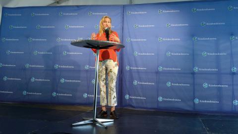 Ebba Busch Thor (KD) under årets politikervecka i Visby. Bild: Janerik Henriksson/TT