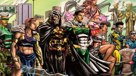 The Vanguards. Från vänster: Jade Waziri, Ireti, Eru, Guardian Prime, Avoneme, Nutech och Max Speed. Bild: Comic Republic