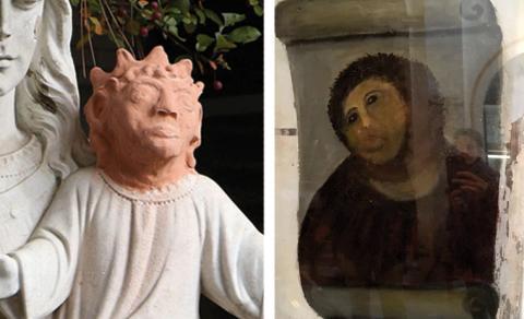 Till vänster: Jesusstaty i Ontario som fått nytt huvud. Till höger: Jesusfresk i Spanska Borjakyrkan. Bild: Gino Donato,  Javier Vinuela AP