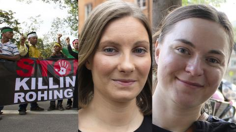 Johanna Kvist, Kristina Jelmin. Bild: Lim Huey Teng/AP / Svenska Burmakommitén.