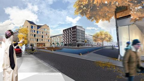 """Kanaler, promenadstråk och små marinor planeras i det nya bostadsområdet vid inre hamnen, Saltängen. """"Det blir ett smakfullt område"""", tycker Kikki Liljeblad (S).  Illustration: Erik Telldén"""
