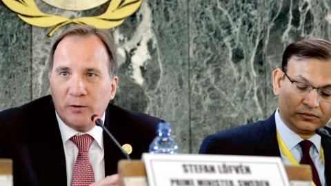 Stefan Löfven under ett FN-möte.  bild Mattias Areskog/TT