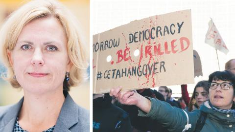 """""""Ceta är inte ett hot mot demokratin. Avtalet bygger däremot en bro till en av våra närmaste allierade"""", skriver Katarina Areskoug Mascarenhas.  På bilden en demonstration i Bryssel mot Ceta-avtalet.  TT"""