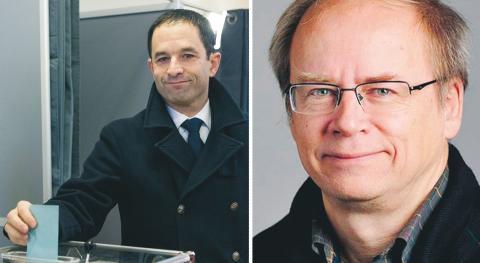 Franska politikern Benoît Hamon debattören Walter Mutt (M) bild Kamil Zihnioglu/TT