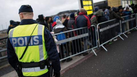 """""""Begär en överprövning av förfrågan om att lämna ut information! Låt Malmö vara en fristad!"""", skriver Marcus Herz från Asylgruppen Malmö. Bild: Johan Nilsson/TT"""