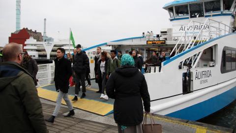 I dagsläget finns redan en gratis linje, Älvsnabben mellan Lindholmen och Stenpiren. Biljettlösa får hålla utkik efter båten med grön flagga. Bild: Hanna Strömbom