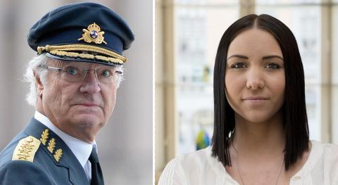 Kung Carl Gustav XVI, Yasmine Larsson, Republikanska föreningen. Bild: Jessica Gow/TT,