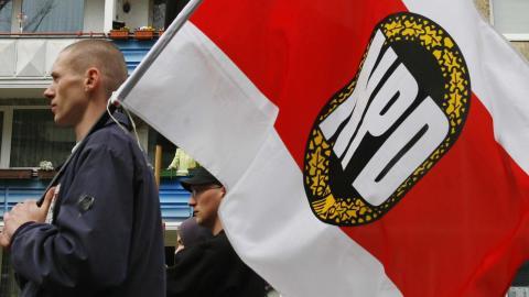 Det tyska högerextrema partiet NPD kan bli olagligt i dag.  Foto: AP