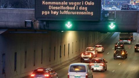 Oslo införde förra veckan ett tillfälligt förbud mot dieselbilar. Bild: Tore Meek/TT