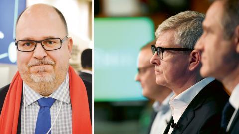 Karl-Petter Thorwaldsson, LO. / Ericssons vd Börje Ekholm, med drygt 40 miljoner i lön om året, presenterar företagets bokslut 2016. Bilder: Joakim Goksör/TT / Pontus Lundahl/TT