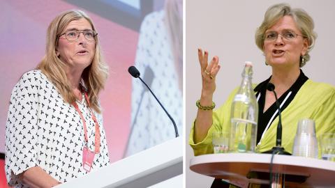 LO:s vice ordförande Therese Guovelin. / Svenskt näringslivs vd Carola Lemne. Bilder:Maja Suslin / Erik Nylander/TT