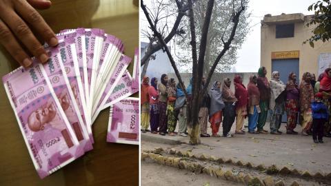 Indiska rupees. / Folk köar utanför vallokal i Indien. Bilder: Aijaz Rahi/AP / Prabhjot Gill/AP