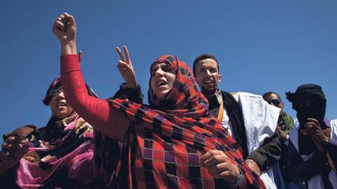 Protester mot Marockos ockupation under 35-årsfirandet av den Sahariska arabiska demokratiska republikens (SADR). Bild: Arturo Rodriguez/AP