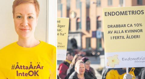 Den första så kallade Gula promenaden för att uppmärksamma kvinnosjukdomen endometrios ägde rum i Stockholm 21 mars, 2015.bild  Daniel Kochanski/TT