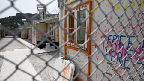 Det område där minderåriga hålls i Morialägret på grekiska ön Lesbos. Rädda barnen rapporterar om allvarliga tillstånd av psykisk ohälsa bland flyktingbarnen som hålls iden grekiska övärlden.  Bild Tore Meek/TT