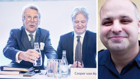Nordeas styrelseordförande Björn Wahlroos och vd Casper von Koskull på Nordeas årsstämma. / Daniel Sestrajcic (V). Bild: Adam Wrafter/SvD/TT / Vänsterpartiet