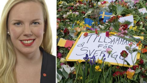 Linda Snecker (V).  Bild: Anders Wiklund/TT