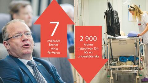 Volvo Groups vd Martin Lundstedt (t.h.) kan glädja sig åt att företagens mervärde har ökat sedan 1980-talet. Samtidigt har till exempel en undersköterska på akuten på Södersjukhuset  i snitt förlorat 2900 kr i månaden. Bilder: Leif R Jansson/TT