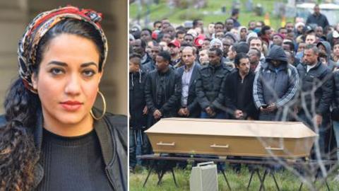Ahmed Hassans kista vid begravningen den 30 oktober 2015. 15-åringen blev ett av dödsoffren i skolattacken på Kronogården i Trollhättan. Bild: Adam Ihse/TT
